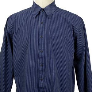Van Heusen Studio Shirt Men Large Long Sleeve Blue